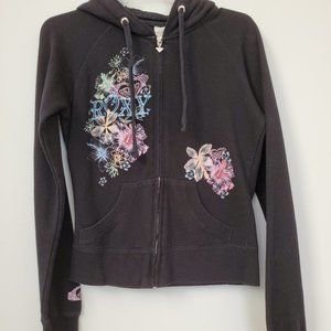 Roxy Black Zip Up Hoodie, Floral Print, Size Small